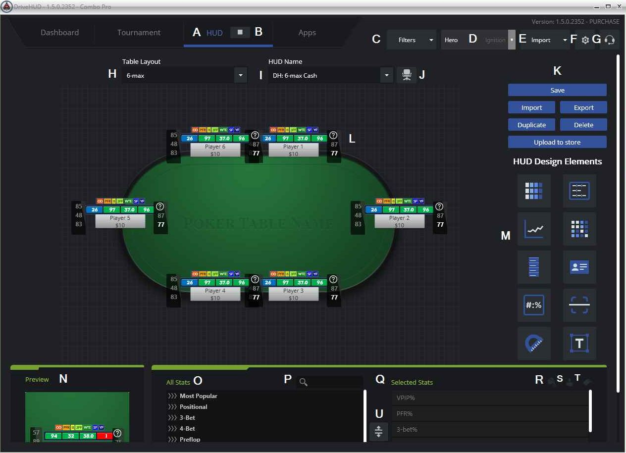 HUD profile editor allows you to customize the poker tracker for yourself.