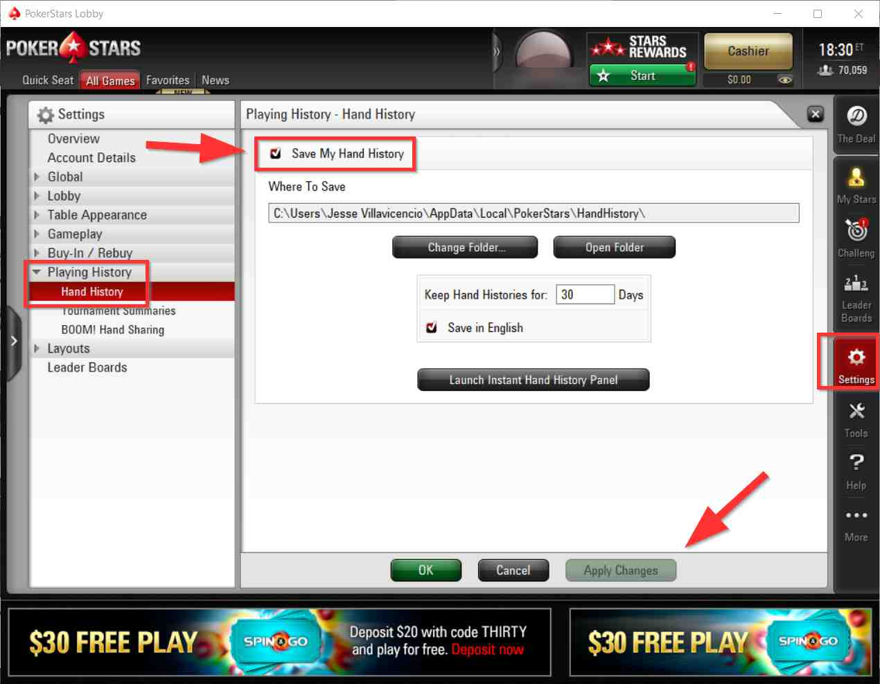 setting up PokerStars to import hand history into Drive HUD