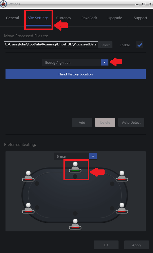 poker site settings for DriveHUD to work properly